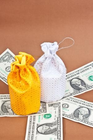 money bag with money Stock Photo - 16502870