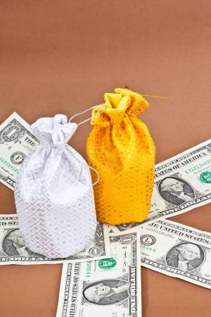 money bag with money Stock Photo - 16502859