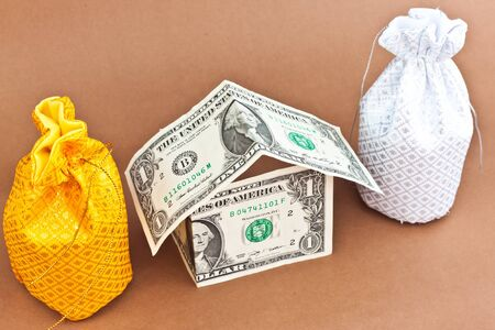 two money bag with dollars Stock Photo - 16494492