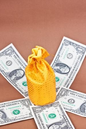 golden money bag on many dollars Stock Photo - 16479466