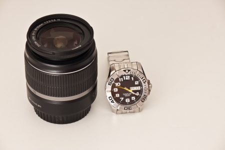 lens of camera with watch photo