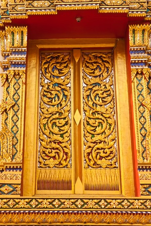 beauty of door at temple in thailand photo