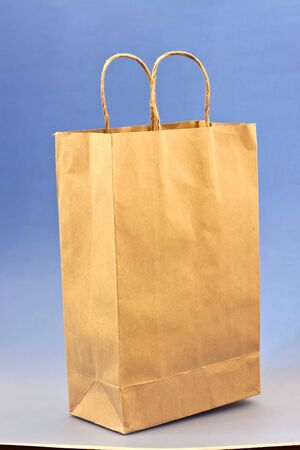 paper bag with blue background photo