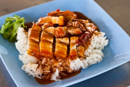 Rice with roasted pork Stock Photo