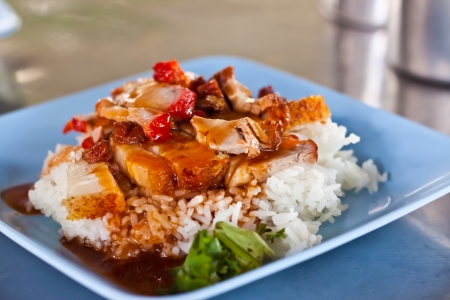 Rice with roasted pork Banque d'images
