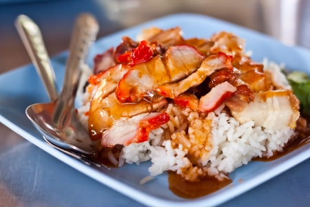 Rice with roasted pork photo