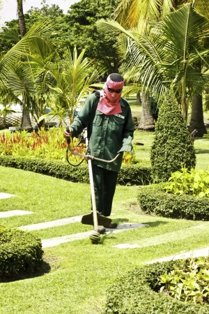 The gardener was mowing photo