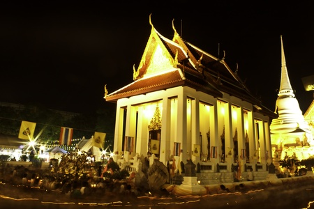 Buddhist church in night time photo