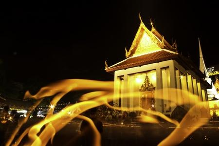 3642;Buddhist church in night time photo