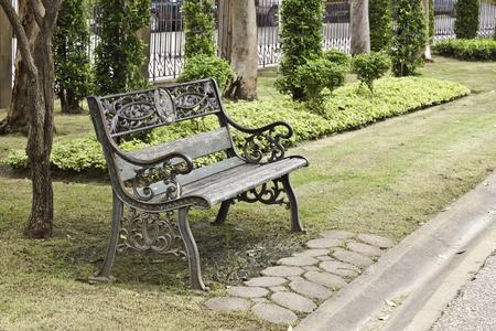 bench in garden photo
