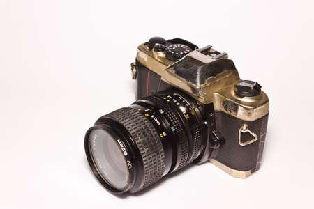 ttl: film camera on white paper Stock Photo
