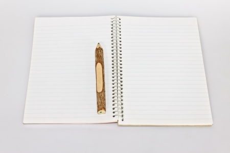 notebook and pencil on the paper photo