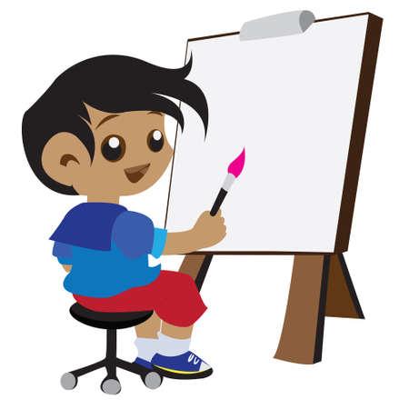 the child artist design Vector