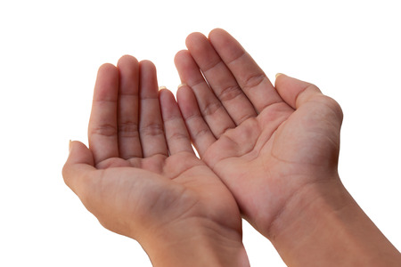 the hand on paper background photo