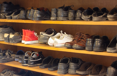old shoe on rack