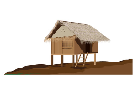 wood door: dessin vectoriel cabane Illustration