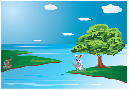 himalaya: rabbit and turtle fishing vector design