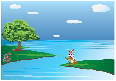 coniglio e pesca tartaruga disegno vettoriale