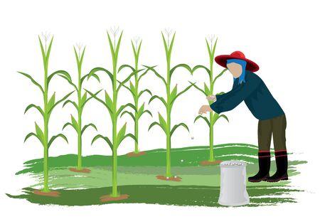 husks: agriculturist manure corn plant vector design Illustration