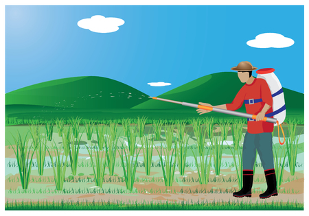 agriculturist: agriculturist sprays rice plant vector design