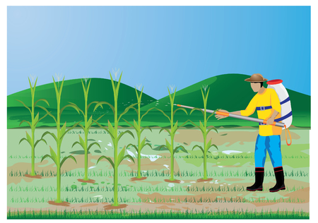 compost: agriculturist sprays corn plant vector design