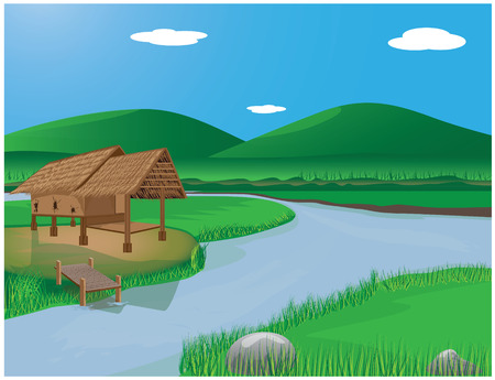 thatch: lifestyle at countryside vector design