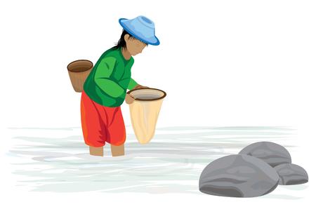 L'agriculteur trouve du poisson dans la conception de vecteur canal