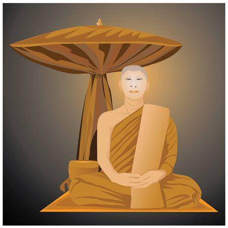 pies bonitos: la meditación de monje en el budismo diseño del vector