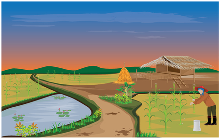 fishing village: lifestyle of agriculturist vector design