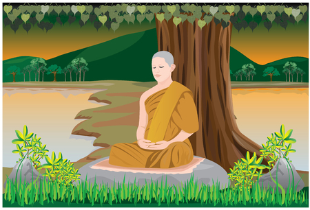 child boy: meditation of monk in Buddhism vector design Illustration