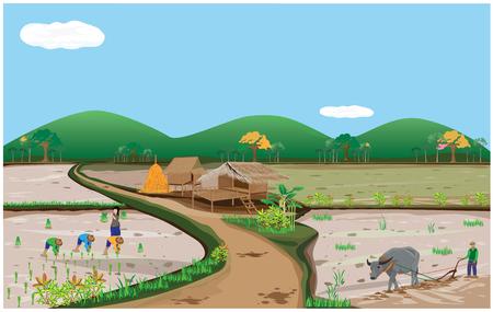 fishing village: lifestyle of farmer vector design