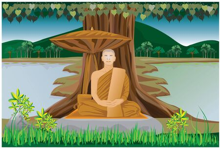nice body: meditation of monk in Buddhism vector design Illustration
