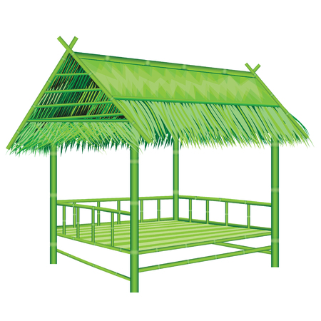 thatch: bamboo straw hut vector design