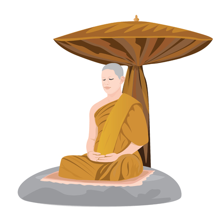 meditation of monk in Buddhism vector design Illustration