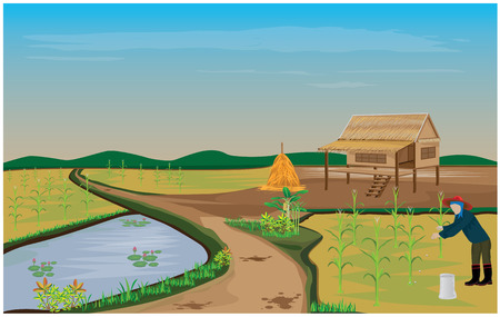 fishing village: lifestyle of country side vector design