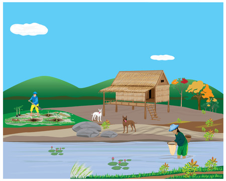 fishing village: lifestyle of countryside vector design