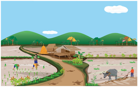 lifetyle of people in countryside vector design Stock fotó - 63355593