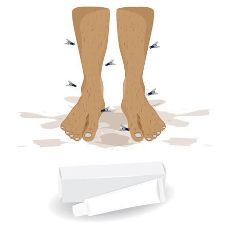 girls feet: bad smell foot vector design Illustration