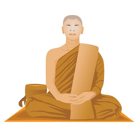 meditation of monk in Buddhism vector design Illustration