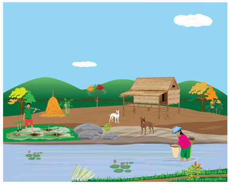 countryman: lifestyle of people in countryside vector design