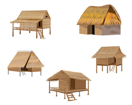 paddy field: straw hut vector design