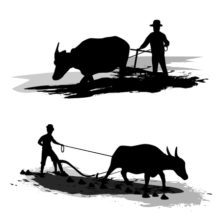 plow: farmer shape vector design