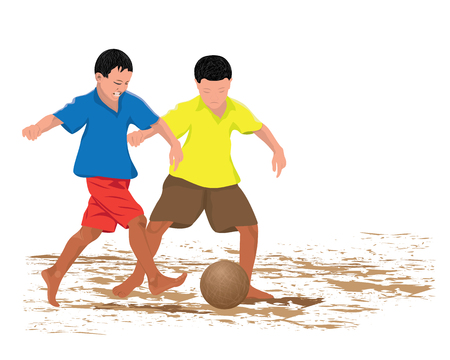 two child: two child plays old ball vector design Illustration