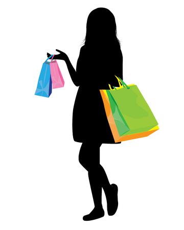 lady shopping: shopping lady shape vector design