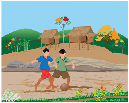 two child plays old ball vector design Illustration