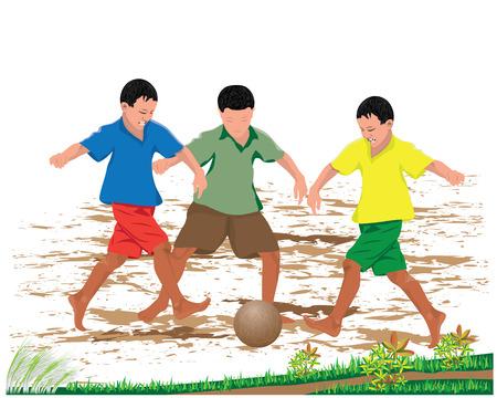 three child plays old ball vector design Illustration