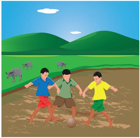child plays old ball vector design Illustration