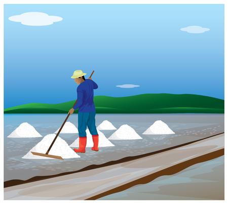 saline: agriculturist work in saline field vector design