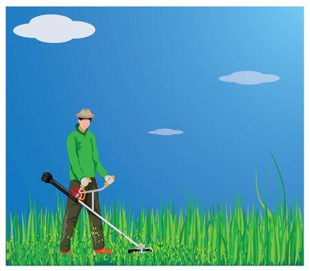 gardener mowing grass vector design