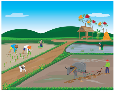 plow: lifestyle of farmer vector design